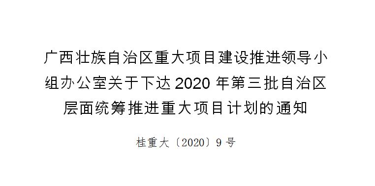 2020年第三批自治区 层面统筹推进重大项目计划