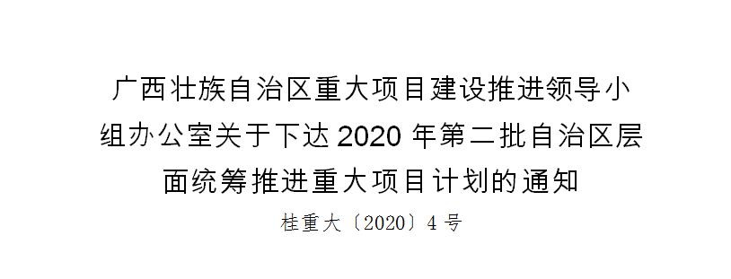 2020年第二批自治区层面统筹推进重大项目计划