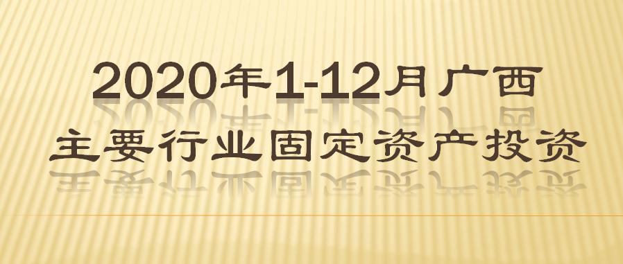 2020年1-12月广西主要行业固定资产投资
